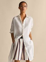Massimo Dutti Linen Long Sleeves Plain Long Oversized Shirts & Blouses