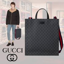 GUCCI GG Supreme Stripes Unisex Blended Fabrics A4 2WAY Totes