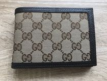 GUCCI Canvas Blended Fabrics Bi-color Folding Wallets
