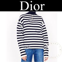 Christian Dior Cable Knit Stripes Casual Style Cashmere Street Style