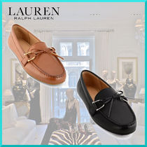 Ralph Lauren Moccasin Round Toe Plain Leather Elegant Style