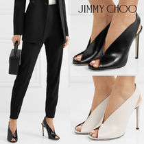 Jimmy Choo Open Toe Plain Leather Pin Heels Elegant Style