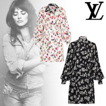 Louis Vuitton Flower Patterns Silk Long Sleeves Elegant Style Dresses