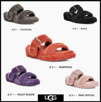 UGG Australia Open Toe Casual Style Bi-color Plain Leather Footbed Sandals