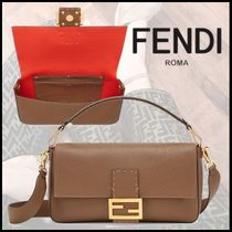 FENDI BAGUETTE 3WAY Plain Leather Elegant Style Shoulder Bags