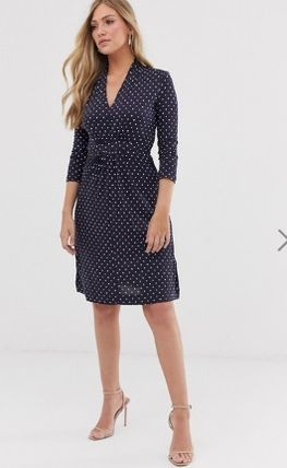 Dots V-Neck Cropped Medium Elegant Style Dresses