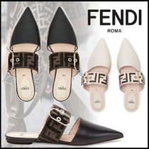 FENDI Plain Leather Elegant Style Mules Logo Sandals Sandal