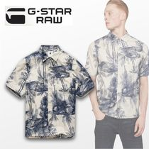 G-Star Flower Patterns Camouflage Cotton Short Sleeves Shirts