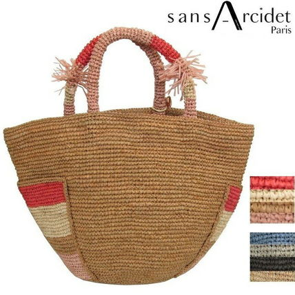A4 Plain Leather Straw Bags