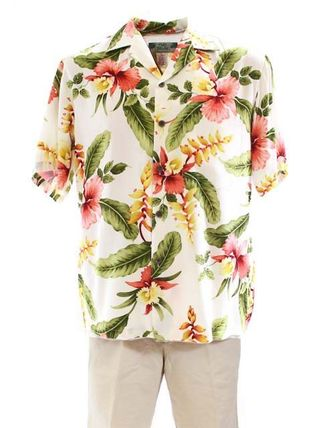 Flower Patterns Tropical Patterns Short Sleeves Shirts