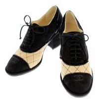 CHANEL Other Check Patterns Plain Toe Lace-up Suede Block Heels