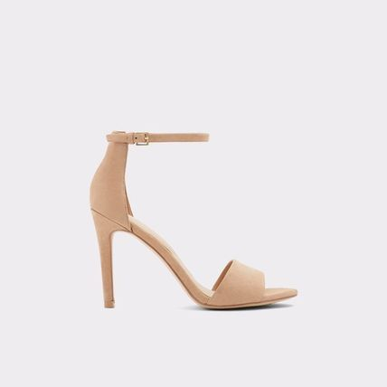 Open Toe Plain Leather Pin Heels Footbed Sandals