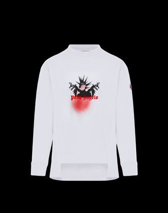 MONCLER Long Sleeve Pullovers Unisex Street Style Long Sleeves Plain Cotton 8