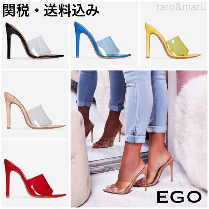 Open Toe Casual Style Enamel Plain Pin Heels Heeled Sandals