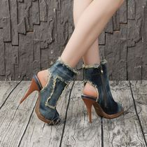 Open Toe Casual Style Plain Pin Heels Ankle & Booties Boots