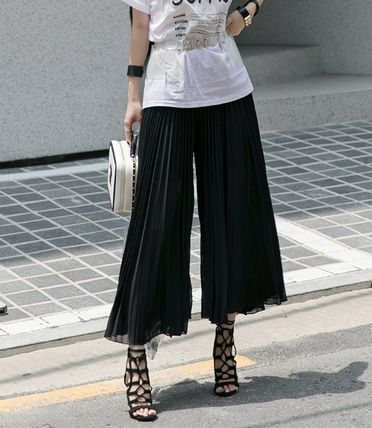 Street Style Collaboration Plain Long Office Style Pants