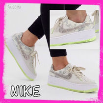Nike AIR FORCE 1 Camouflage Lace-up Casual Style Unisex Street Style Leather