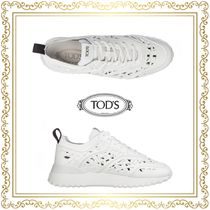 TOD'S Round Toe Rubber Sole Plain Leather Low-Top Sneakers