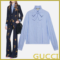 GUCCI Stripes Long Sleeves Cotton Shirts & Blouses