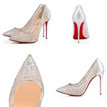 Christian Louboutin Flower Patterns Blended Fabrics Pin Heels Handmade