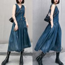 Casual Style Sleeveless Plain Home Party Ideas Shirt Dresses