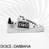 Dolce & Gabbana Round Toe Lace-up Casual Style Studded Bi-color