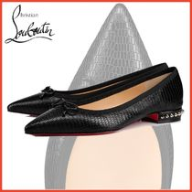 Christian Louboutin Studded Plain Other Animal Patterns Leather Ballet Shoes