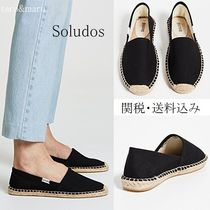 SOLUDOS Round Toe Rubber Sole Plain Flats