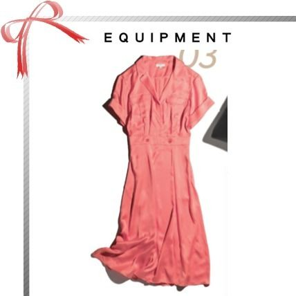 Plain Short Sleeves Shirt Dresses Elegant Style Dresses