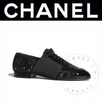 CHANEL Wedge Lace-up Casual Style Blended Fabrics Street Style