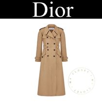 Christian Dior Street Style Plain Long Handmade Elegant Style Trench Coats