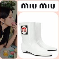 MiuMiu Casual Style Leather Ankle & Booties Boots