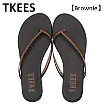 TKEES Casual Style Plain Leather Flip Flops Flat Sandals