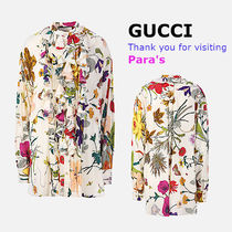 GUCCI Flower Patterns Silk Long Sleeves Oversized Shirts & Blouses