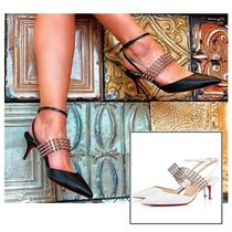 Christian Louboutin Studded Plain Other Animal Patterns Leather Pin Heels