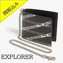 BALENCIAGA Monogram Chain Leather Folding Wallets
