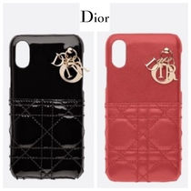 Christian Dior Plain Leather Smart Phone Cases