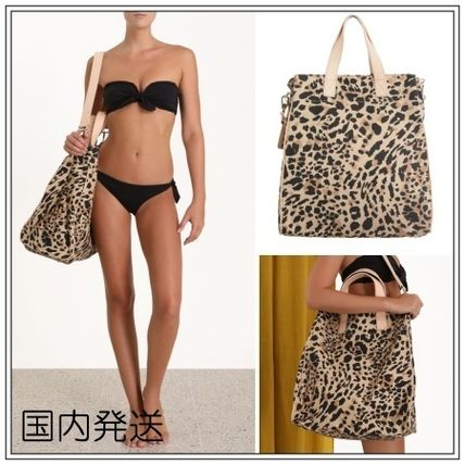 Leopard Patterns Casual Style Canvas Blended Fabrics 2WAY