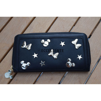 Studded Street Style Collaboration Plain Long Wallets