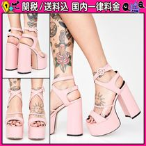 DOLLS KILL Open Toe Casual Style Faux Fur Plain Peep Toe Pumps & Mules