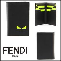 FENDI Calfskin Street Style Plain Card Holders