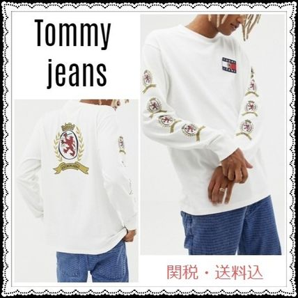 Tommy Hilfiger Sweatshirts Crew Neck Unisex Sweat Street Style Long Sleeves Plain