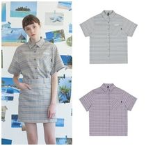 Other Check Patterns Street Style Medium Short Sleeves