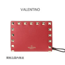 VALENTINO VLTN Studded Plain Leather Folding Wallets