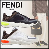 FENDI Monogram Street Style Leather Sneakers