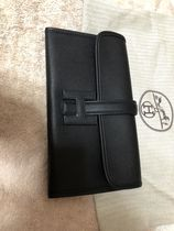 HERMES Jige Unisex Plain Leather Folding Wallets