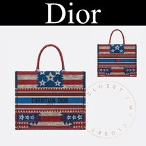 Christian Dior Star Casual Style Canvas Street Style A4 2WAY Handmade Totes