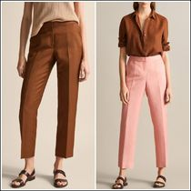 Massimo Dutti Linen Plain Long Short Length Elegant Style Pants
