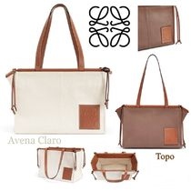 LOEWE Casual Style Canvas Blended Fabrics A4 Plain Totes