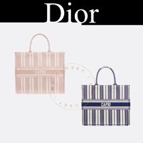 Christian Dior Stripes Casual Style Canvas Street Style A4 2WAY Handmade